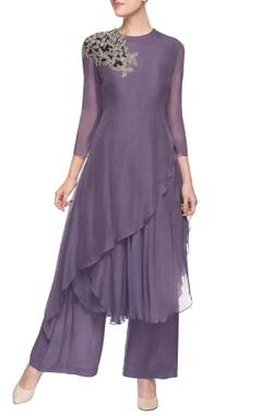 purple asymmetric hem kurta & palazzos
