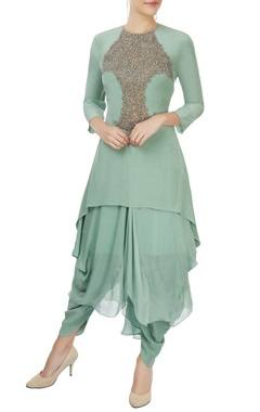 sage green kurta set