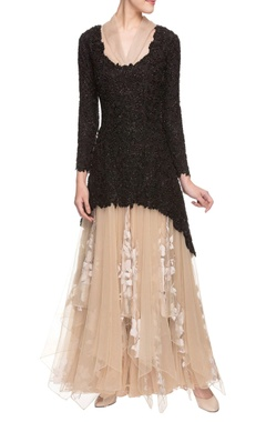 Aikeyah Cream gown with black embellished overlay