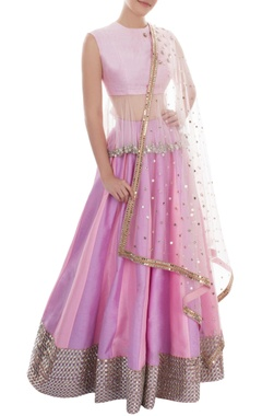 puple & pink mirror work lehenga set