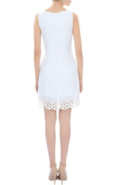 White cutout work short dress