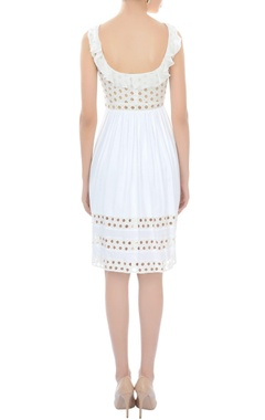 White ruffled cutout dress