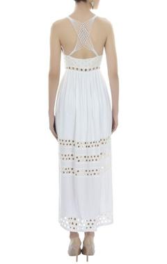 White cutwork maxi dress