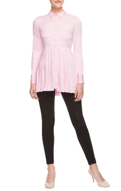 pink pleated shirt