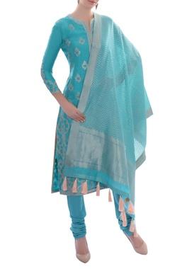 sky blue embroidered kurta set