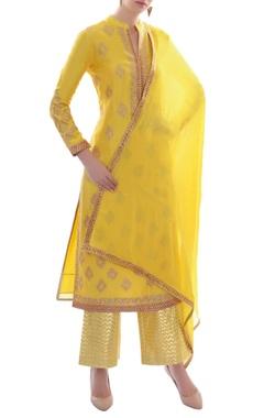 canary yellow embellished kurta set