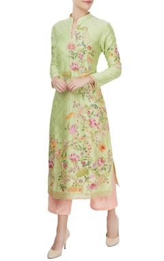Pistachio green kurta & pink culottes