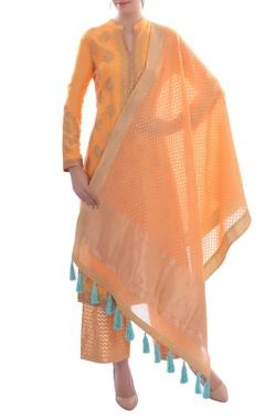 orange embellished kurta set