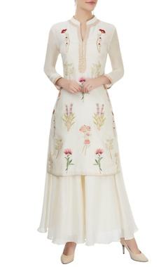 ivory embroidered kurta & palazzo