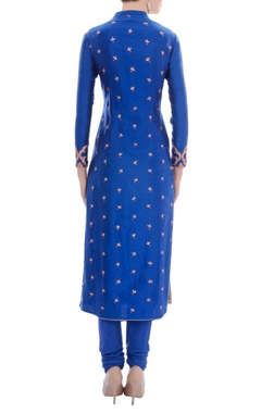 Royal blue embellished kurta set