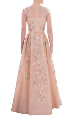Cream sheer gown with floral sequins
