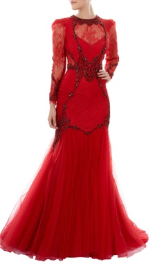 Red fit & flared gown with stone embellishments