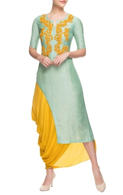 Yellow cowl draped skirt with kurta