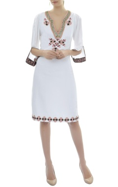 White appliqued dress