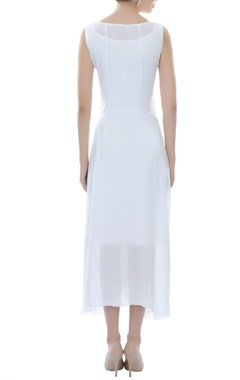 white asymmetric embellished dress