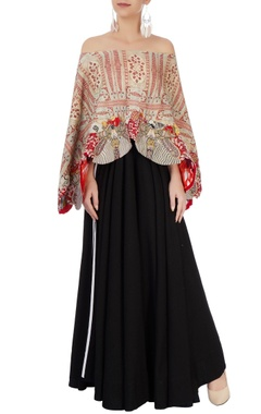 Black & red maxi dress with printed cape