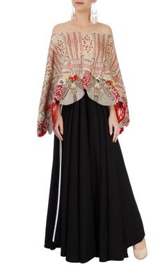 Anamika Khanna Black & red maxi dress with printed cape