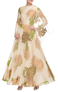 Cream printed anarkali set
