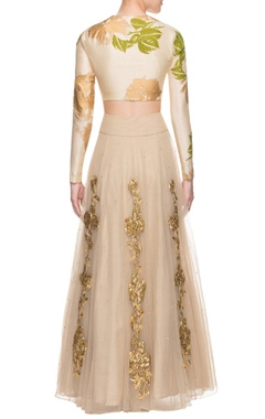 Cream floral print lehenga set