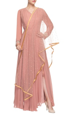 Bhumika Sharma Peachy pink anarkali set