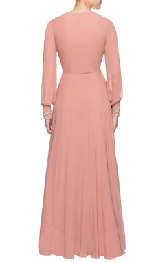 Peachy pink anarkali set
