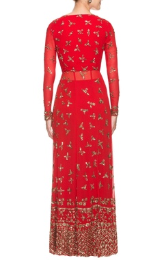 red sequined anarkali set
