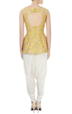 Mango yellow peplum top & off-white dhoti