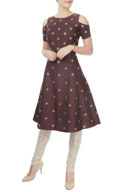 Mishru Chocolate brown A-line kurta with churidar