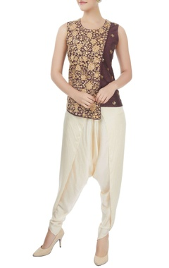 Mishru Brown layered top with off-white dhoti pants