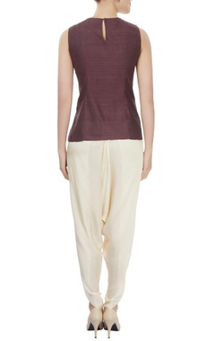 Brown layered top with off-white dhoti pants