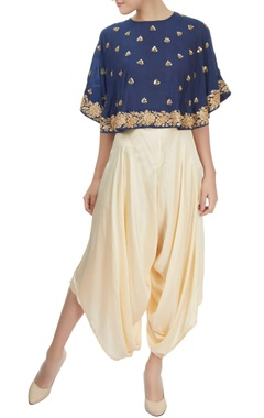 Mishru Navy blue and cream cape crop top & layered dhoti set