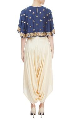 navy blue and cream cape crop top & layered dhoti set