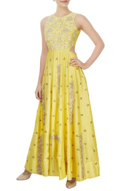 Mishru Yellow floor length gown with rose motifs & sequin details