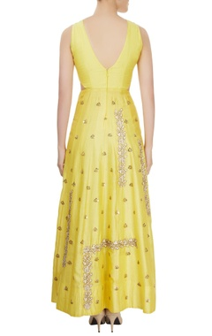 Yellow floor length gown with rose motifs & sequin details
