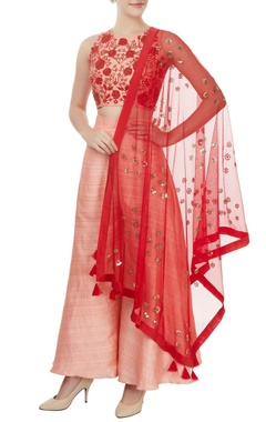 Mishru Blush pink embroidered crop top and palazzo separates with net dupatta