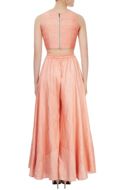 Blush pink embroidered crop top and palazzo separates with net dupatta