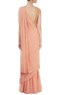 peach embroidered sari with cutout blouse