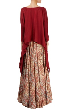 Maroon top with multi-print skirt