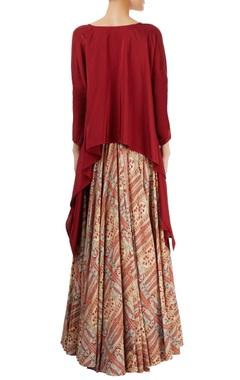 maroon top with multi-print skirt