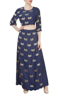 Navy blue divider skirt with top