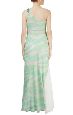 White & light green one shoulder gown