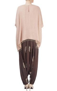 Brown pants with peach kaftan top
