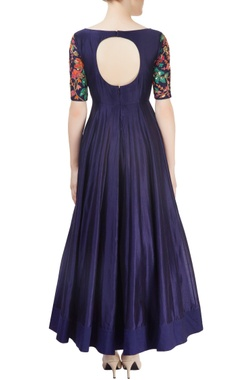 Navy blue embroidered anarkali