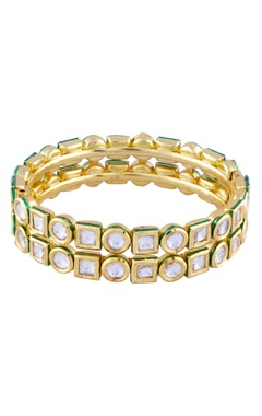 gold finish double layered kundan bracelet