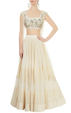 Ivory lehenga & embroiderd blouse with shrug