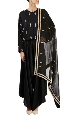 Black top with cowl pant & dupatta