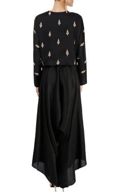 black top with cowl pant & dupatta