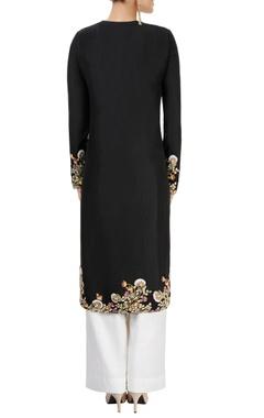 black floral applique kurta set