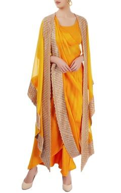 Mango yellow embellished sari set