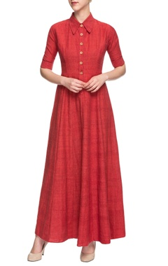 Red collared maxi dress